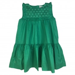 Green dress with ruffles and bust details
