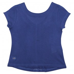 Girl navy t-shirt with buttons in the back