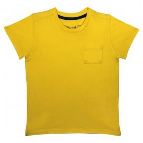 T-shirt garçon basique jaune avec une poche