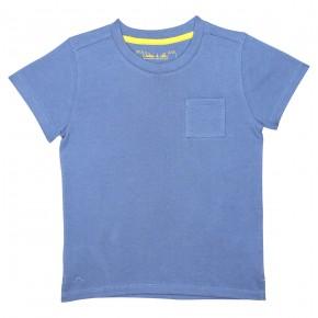 T-shirt garçon basique blue avec une poche