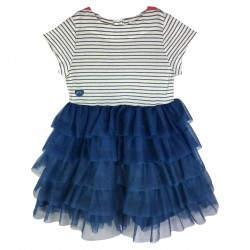 Girl ruffles dress with stripes Belle-Ile
