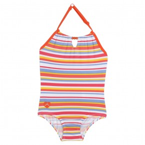 Girl pink swimsuit with fringes