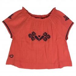 Coral blouse with embroideries La Bohème