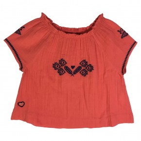 Coral blouse with embroideries La Bohème