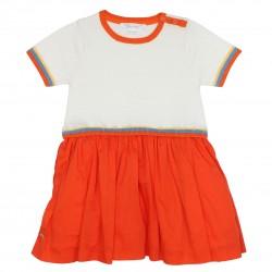 Girl orange and white dress Holidays