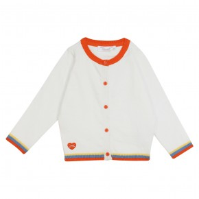 Girl orange and white cardigan Holidays