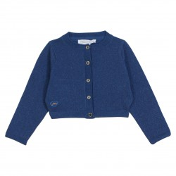 Blue sparkling cropped cardigan