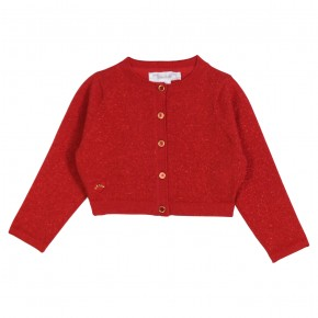 Red sparkling cropped cardigan
