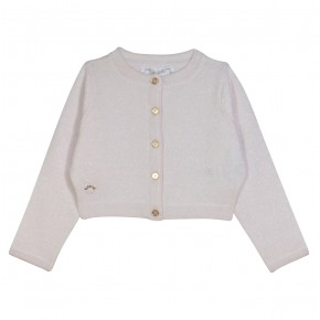 Girls Cropped White Cardigan