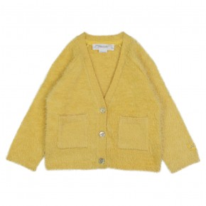 Girl fluffy yellow cardigan
