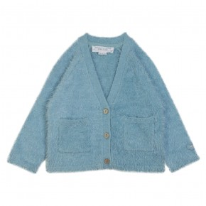 Girl fluffy aqua cardigan