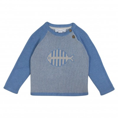 Knitted pullover with a fish Honfleur