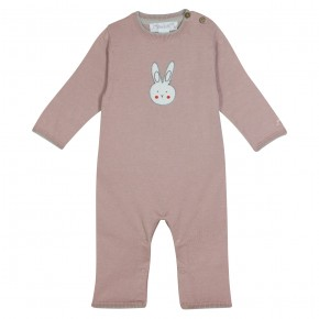 Baby pink romper with a bunny Jojo Lapin
