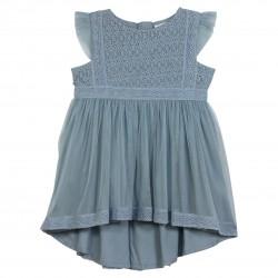 Blue Flounce-sleeved dress