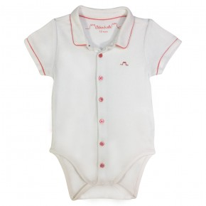 Baby Boy Bodysuit with Striped Trimmings