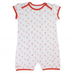 Baby girl romper coral - Organic Cotton