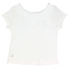 Girl white t-shirt with buttons in the back