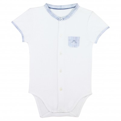 white bodysuit with checked collar
