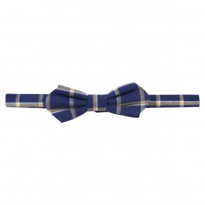 Navy & Turquoise checked bow tie
