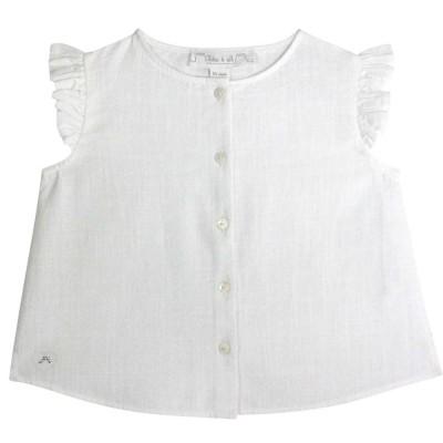 Flounce Sleeve Cotton Linen Blouse