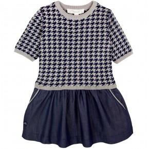 Dress with denim skirt