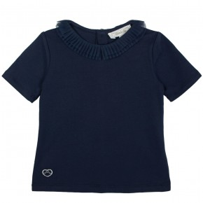 T-Shirt with Tulle Collar