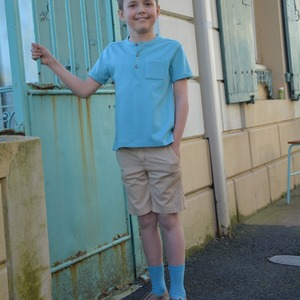 Look at me – I'm the most handsome boy in the town!  Organic cotton polo shirt in Aqua in-store now