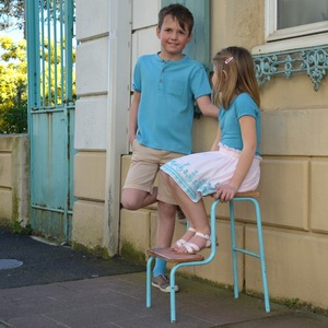 The sun is up, the sky is blue, it's beautiful and so are you  Organic cotton polo shirt and Tencel girl's tee-shirt in Aqua in-store now #chateaudesable #johnlennon