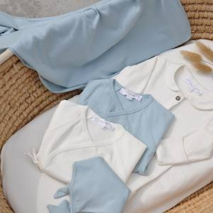 As light and fresh as a summer morning sky… heavenly blue and cloud-like white for your most precious one!  #organiccotton #organiccottonbabyclothes